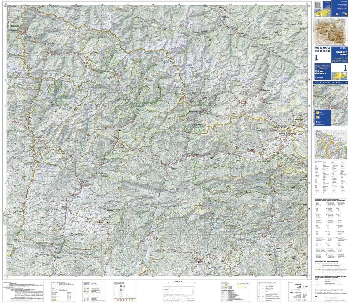 Mapa Topografic De Catalunya.Mapa Topografic De Catalunya 1 100 000 Pirineu Occidental 1