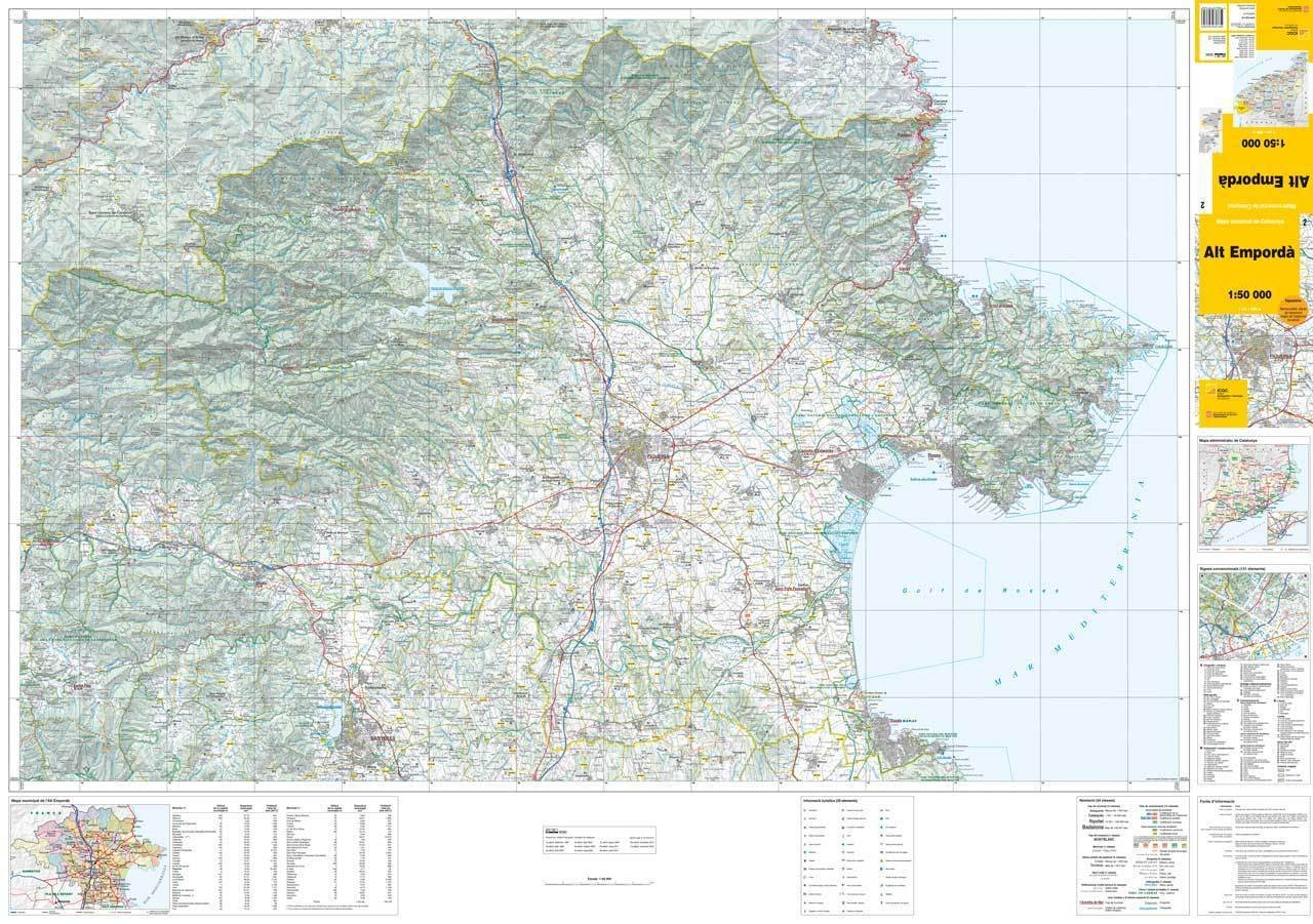 Mapa De Alt Emporda.Mapa Comarcal De Catalunya 1 50 000 Alt Emporda 02 E Shop